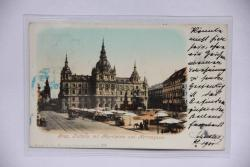 Graz, Rathaus mit Marktplatz und Herrengasse