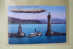 Lindau - Hafen und Graf Zeppelins Luftschiff